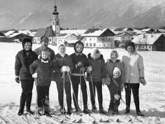Otto von Habsburg together with his children Andrea, Karl, Michaela, Monika, Gabriela, Walburga, Georg and his wife, Archduchess Regina skiing in Tulfes, Tyrol, Austria, 1967. This was the first winter in which the family was allowed to visit Austria.