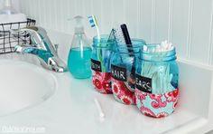 Bathroom Organizer Mason Jars Tween craft @clubchicacircle