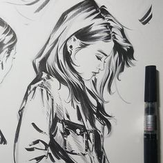 ▷ 1001 + ideas for the production of a prey drawing - tribute to booty girl - artist, Portrait Au Crayon, Pencil Portrait, Portrait Art, Art Drawings Sketches, Cool Drawings, Pencil Sketches Of Girls, Black Pen Sketches, Black Pen Drawing, Tribute