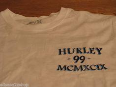 Men's Hurley small S SM premium fit white surf skate T shirt 99 MCMXCIX NEW NWT