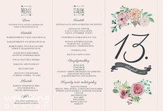 Menu and table number - Menü és asztalszám Wedding Graphics, Wedding Decorations, Table Decorations, Table Numbers, Wedding Designs, Wedding Table, Menu, Menu Board Design, Wedding Memorial Table