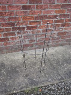 2 Vintage Garden Wrought Iron Peony Cages Plant Supports
