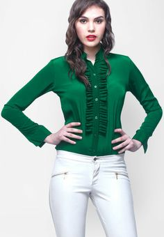 Faballey Full Sleeve Green Solid Top RS.1200/-