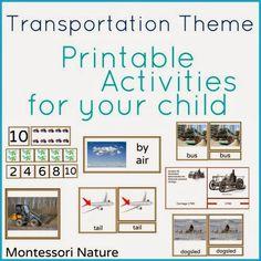 Transportation Theme - Montessori Printable Activities - Giveaway