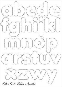 Pattern: Alphabet for felt or fabric (in buru suitcase) Alphabet Templates, Felt Templates, Alphabet Stencils, Motifs D'appliques, Felt Letters, Alphabet And Numbers, Bubble Letters Alphabet, Applique Patterns, Felt Crafts