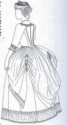 Robe a La Polonaise. 18th Century gown. Sketch. I love the style of this gown.