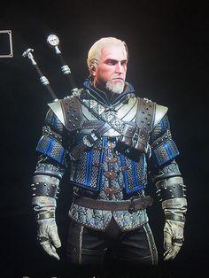 Gotta love that grandmaster wolf armor in blue. Witcher 3 Bear Armor, The Witcher Game, Witcher Art, Viking Armor, Medieval Armor, Armor Concept, Concept Art, Larp, Dragon Armor