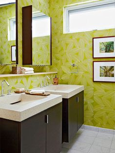 Style your space using sleek lines, reflective hardware, and minimal accessories to create a bath you'll love. These modern floating vanities add just the right amount of contemporary flair to this bright bathroom! http://www.bhg.com/bathroom/small/solutions/?socsrc=bhgpin032015modernflairbathroom&page=6