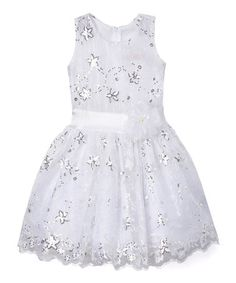 Look at this #zulilyfind! White Floral Sequin A-Line Dress - Toddler & Girls…