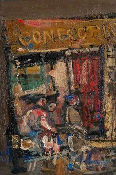 """""""Sweetshop, Rotten Row"""" ~by~ Joan Kathleen Harding Aberdeen Art Gallery, Gallery Of Modern Art, Glasgow School Of Art, Popular Artists, Mid Century Art, Art Moderne, Art Uk, Winter Landscape, Your Paintings"""