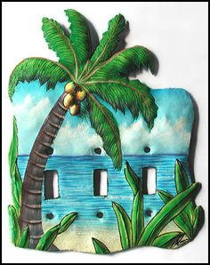 Tropical Coconut Tree Toggle Light Switch Plate Cover - Hand Painted Metal - Handcrafted in Haiti - Recycled steel oil drums - by SwitchPlateDecor on Etsy Decorative Light Switch Covers, Switch Plate Covers, Light Switch Plates, Light Covers, Tropical Wall Decor, Tropical Design, Metal Art, Painted Metal, Hand Painted