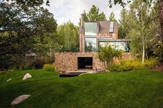 Modern rustic dwelling vanishes into nature