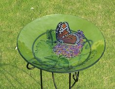 "18"" Monarch Butterfly and Lilac Flower Design on Green Glass Garden Bird Bath Evergreen,http://www.amazon.com/dp/B009CGE0KO/ref=cm_sw_r_pi_dp_UCONsb0EA68VV9DQ"