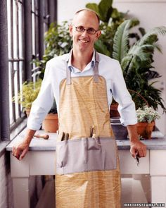 DIY Men Gift Ideas {Just for HIM}...Men Gardener's Apron    Sew an apron for your garden lover. You can also simply revamp an apron.    Simply by adding those pockets to a store-bought apron.