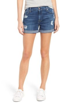 Main Image - 7 For All Mankind® Relaxed Cuffed Denim Shorts (Barrier Reef Broken Twill 3)