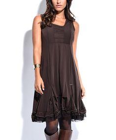 Look at this #zulilyfind! Brown Ruffle Shift Dress #zulilyfinds