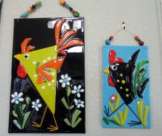 Fused Glass Chicken Rooster Flower Plaque Whimsical by jodysart