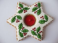 Love the candle holder too. Christmas Gingerbread, Christmas Treats, Christmas Baking, Christmas Cookies, Christmas Candles, Christmas Ornaments, Ugly Christmas Sweater, Holidays And Events, Candle Holders