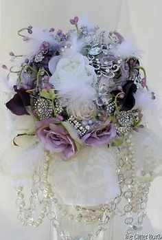 Wedding Brooch Bouquet Bridal Bouquet Lavender Purple Ivory Crystals & Pearl - This is the one:-)