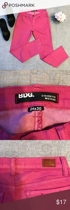 🌺 BDG Pink Cigarette Mid Rise Jeans 🌺 These jeans have been cut to a 23 1/2 inch inseam. Cool raw hem for a trendy cropped look. They are otherwise in excellent condition. They can be cuffed or hemmed. These are BDG for Urban Outfitters. All reasonable offers considered. 🌺 BDG Jeans