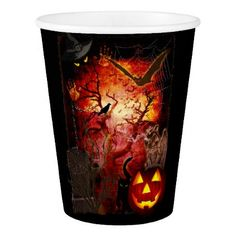 Scary Halloween (customizable) Paper Cup - halloween decor diy cyo personalize unique party