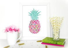 Preppy Pineapple  Home Decor  Lilly Pulitzer by WordsOfEndearment