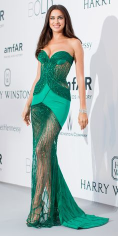 Irina Shayk in an emerald gown with Harry Winston jewels.  Love the color!  The Best of the 2015 Cannes Film Festival Red Carpet - Irina Shayk  - from InStyle.com