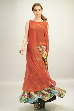 Kurtis, Orange Chiffon Top With Multi Colour Georgette Printed Skirt