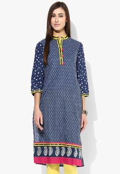 Band Collar Center Front Pleated A-Line Kurti In Silver Print With 3/4Th Sleeves Look vivacious like a fashion goddess wearing this navy blue kurta by Sangria. Featuring a striking print with contrast coloured placket and neckline, this cotton kurta will go well with matching churidar and peep toes. http://jbo.ng/2upXXqN