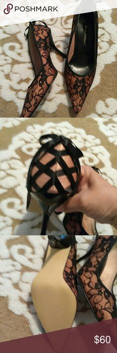 Sexy hot shoes Tan with black lace. Criss cross black ribbon in the back Shoes Heels