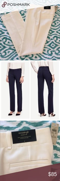 """Ann Taylor Modern Fit Straight Leg Trousers Perfect proportioned, expertly detailed, and simply classic, this straight leg pair is tailored in a beautiful fabric that is equally suited for office hours and after hours. Modern fit: leaner through the hips and thighs. Contoured curtain waistband. Front hook with double hook-and-bar closure. Belt loops. Front off-seam pockets. Back welt pockets. 31"""" inseam. Fabric: 37% Rayon, 37% Polyester, 24% Wool, 2% Spandex. Lined. Color: Winter White…"""