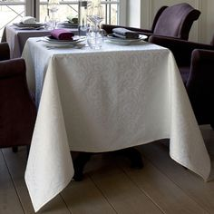Want to make an elegant statement at dinner this evening? Invited table linens by Yves Delorme speak refined elegance with their tone-on-tone organic jacquard allover design. Choose from crisp white to subdued ivory to rich ruby. Yves Delorme table linens are virtually carefree