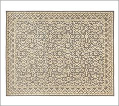 Tile Rug #potterybarn. This would look great, ties in gray and creamy white. Hard to do and this is beautiful.