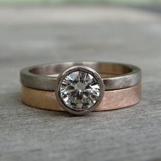 Forever Brilliant Moissanite Engagement Ring in Recycled 18k Palladium White Gold with Recycled 14k Rose Gold Band - Ethical, Eco-Friendly