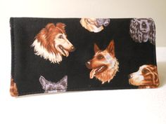 Fabric Checkbook Cover  Dogs Black by Joanna1966 on Etsy,