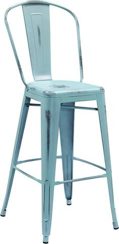 Flash Furniture 30u0027u0027 High Distressed Dream Blue Metal Indoor Outdoor  Barstool With Back