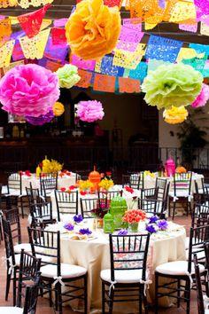 Fiesta! Paper garlands, tissue paper pom poms.