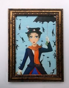 Mary Poppins and Chimney Sweeps #minipainting #popsurrealism #etsy #marypoppins