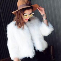 2018 Short Black White Rabbit Fur Style Jacket Sleeve Slim for Women
