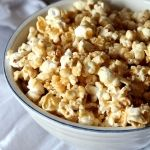 Salted Caramel Popcorn. Make your easy caramel sauce. Just butter, corn syrup, brown sugar and salt. Bring to a boil, no stirring, for 4 minutes. Pour over already prepared microwave popcorn and mix together. Put popcorn onto lined baking pan, bake for  30 minutes at 300. Stir every 10 minutes. Cool, break apart, enjoy!