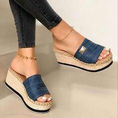 Heeled Espadrilles, Shoes Heels Wedges, Peep Toe Wedges, Wedge Sandals, Beach Sandals, High Wedges, Toe Shoes, Blue Sandals, Frauen In High Heels