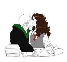 Harry Potter Couples, Harry Potter Ships, Harry Potter Pictures, Harry Potter Fan Art, Draco And Hermione, Hermione Granger, Draco Malfoy, Slytherin, Hogwarts