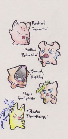 atubofgoldfishes:  So jumping on this train that I know I've missed out on, here are some Jigglypuff subspecies!