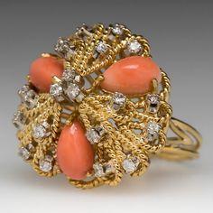 18K Coral Cocktail prsten w / diamanty