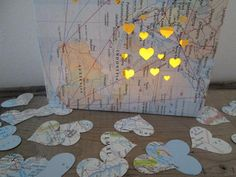 800 Map Confetti Heart Confetti Maps Travel by Oldendesigns, $15.00