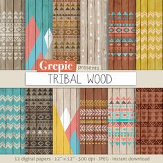 "Tribal digital paper: ""TRIBAL WOOD"" with aztec patterns and tribal patterns on wood in colorful backgrounds and textures on Etsy, € 3,73"