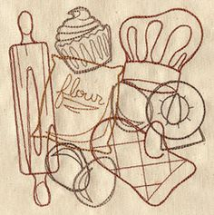 """""""Baking Collage""""  A light-stitching collage of baking supplies, perfect for aprons, tea towels, and other breezy fabrics.  -  UT3454 (Machine Embroidery)  00445675-042713-0820-7"""