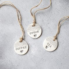 Polymer clay kitchen canister labels, available in a choice of colours. Kitchen Containers, Drink Containers, Storage Containers, Tea Labels, Pantry Labels, Cupboard Shelves, Kitchen Cupboards, Kitchen Storage, Kitchen Canister Labels