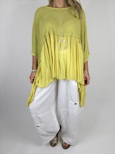 Lagenlook Frill Hem Layering tunic Great over linen Viscose and elastic blend One size fits al sizes 10-28uk Measurements taken flat across chest underarm 50'/127cm length centre to hem 27'/68cm model is 5ft3'