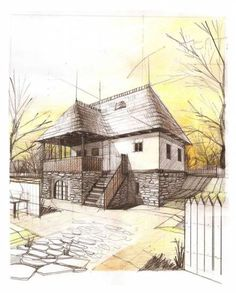 New House Design Exterior Drawing 18 Ideas Architecture Concept Drawings, Architecture Sketchbook, Architecture Design, Building Drawing, Building Sketch, House Sketch, House Drawing, Exterior Rendering, Perspective Drawing